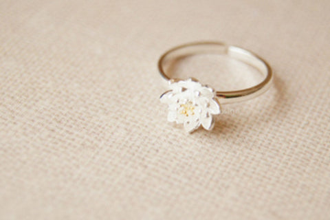 Sterling silver lotus ring,cute flower silver ring,silver lotus adjustable ring