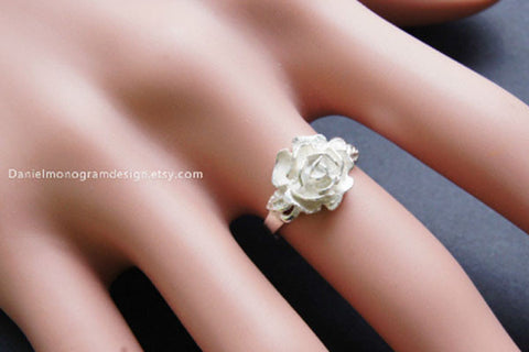 925 Sterling Silver rose ring,  handmade silver ring,adjustable rose ring