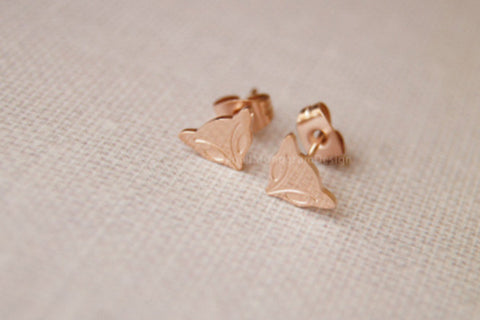 Rose gold earrings,rose gold plated lovely fox earring stud,simple cute earrings
