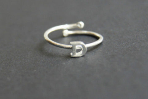 925 sterling silver capital ring, adjustable initial ring,alphabet ring