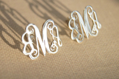 "Monogram Earrings-925 Sterling Silver monogram earrings,0.5"" initials monogram earring studs"