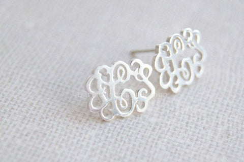 "Monogram Earrings-925 Sterling Silver monogram earrings,0.6"" monogram earring studs"