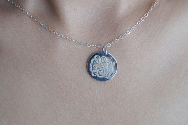 ae37f2d3bac581 Custom silver disc monogram necklace,0.8'' engraved monogram necklace ,3  initials monogram necklace,925 sterling silver monogram necklace