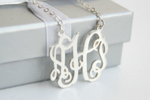 Custom 925 sterling silver monogram necklace,1.25'' inch personalized vine monogram necklace,sterling silver charms,best friend necklaces