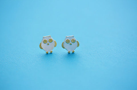 925 sterling silver owl  earrings,cute owl earrings.,Personalized fashion earrings,simple silver earrings,a dainty gift