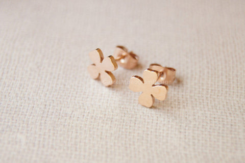 Rose gold earrings,rose gold plated lovely for leaf clovers earring stud,simple clovers earrings