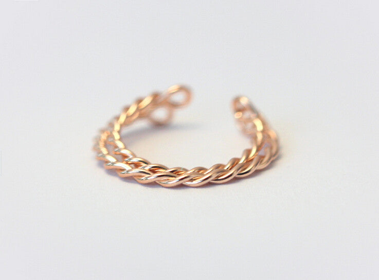 925 sterling silver rose gold twist opening ring little finger