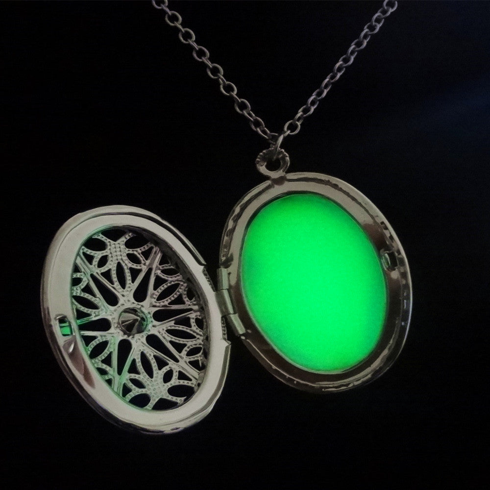 necklace drop dark water glowing pendant heart round locket necklaces in products glow the