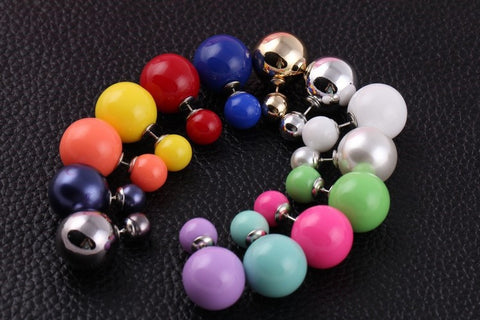 16 Colors Cute Charm Double Pearl Statement Stud Earrings Accessories Jewelry For Women