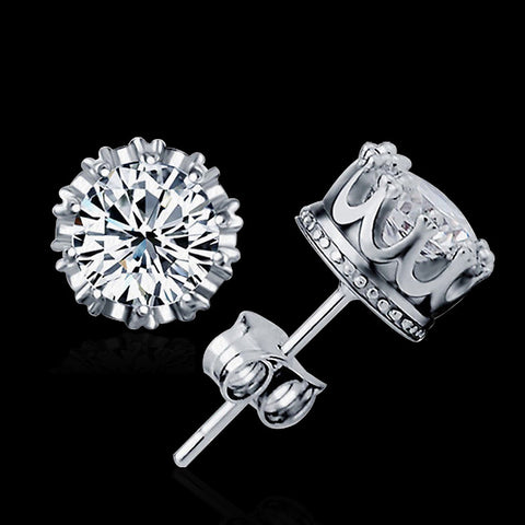 8 MM Round 2 Carat Cubic Zircon silver Plated Stud Earrings