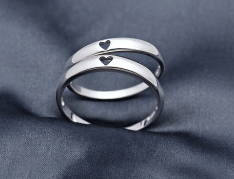 Personalized 925 Sterling Silver heart lovers ring,elegant couple rings,a perfect gift