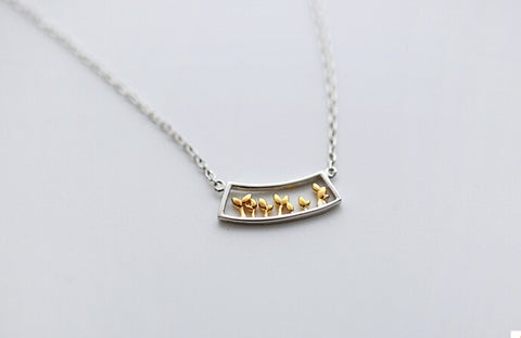 925 sterling silver (double color window set of chain) necklace
