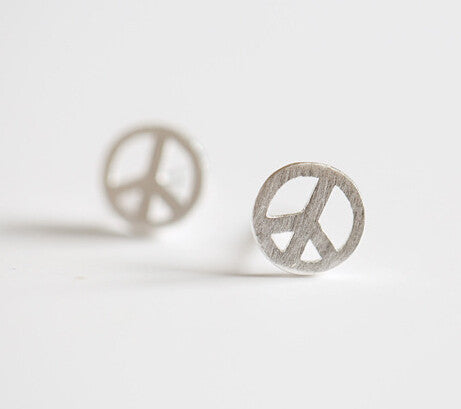 925 sterling silver earrings, peace symbol stud earrings, silver ornaments exquisite individual character