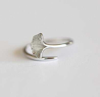 925 sterling silver plating ring opening, silver ginkgo biloba opening ring, exquisite gifts