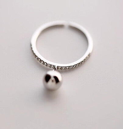 925 Sterling Silver (Zircon beads opening ring) silver jewelry jewelry ring ring