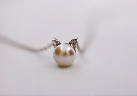 925 sterling silver necklace lovely and sweet (pearl cat ears set chain)