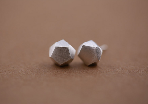 925 sterling silver grinding hammer section geometry earrings