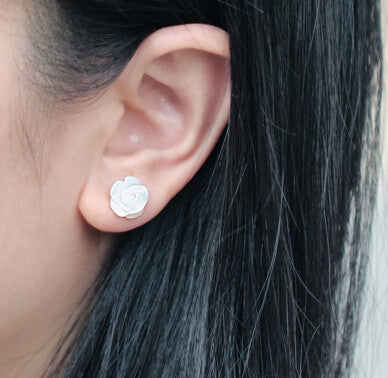 925 sterling silver Natural shell rose earrings ,simple fresh rose earrings,a perfect gift