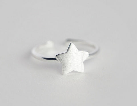925 Sterling Silver drawing geometry Ring, star and  triangle  opening ring,A perfect gift