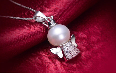 925 Sterling Silver Angel zircon Pearl pendant, cute angel pendant,A perfect gift