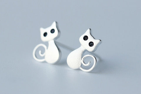 925 sterling silver cat earrings,cute cat earrings,a perfect gift