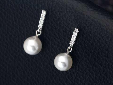 925 sterling silver Shell pearl has pearl inlay zircon earrings,lovely pearl earrings,a perfect gift