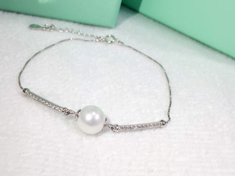 925 sterling silver zircon pearl bracelet,personalized lovely pearl bracelet,a perfect gift