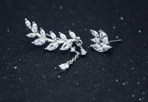 925 sterling silver asymmetry leafs earrings,fashion sweet leafs earrings,a perfect gift