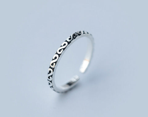 "925 Sterling Thai silver retro ""S""opening ring ,personalized fashion ""S"" ring, a perfect gift"