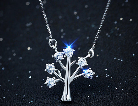 925 Sterling silver tiny tree zircon necklace,personalized fashion tree necklace, a perfect gift