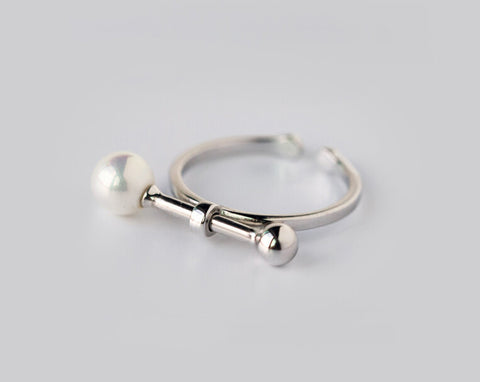 925 sterling silver shell pearl opening ring,personalized fashion pearl ring,a perfect gift