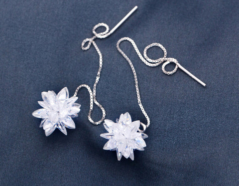 925 sterling silver snowflake flower earrings,sweet lovely snowflake flower earrings,a perfect gift ,a Christmas gift