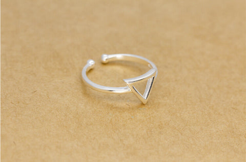 925 sterling silver hollow carved triangle opening ring,personalized  fashion triangle ring,a perfect gift