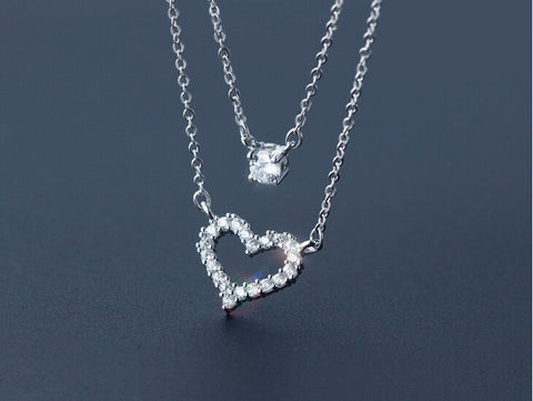 925 Sterling silver sweet love two level CZ necklace,sweet fashion love heart necklace,a perfect gift