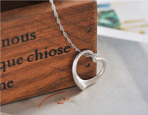 925 sterling sliver love heart necklace,romantic fashion love heart necklace,a perfect gift