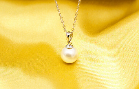 925 sterling silver simple pearl necklace,a perfect gift