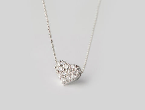 925 sterling silver heart zircon necklace,a perfect gift