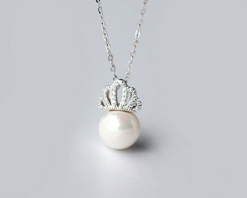 925 sterling silver crown pearl necklace,a personalized gift