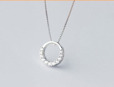 Sweet fresh circle 925 sterling silver zircon pendant,a perfect gift