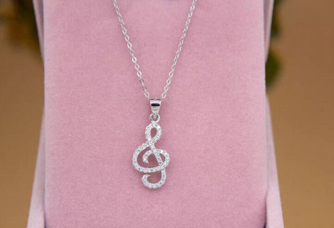 Personality fashion Musical notes 925 sterling silver zircon pendant,a perfect gift