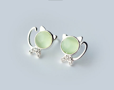 925 sterling silver cute cat earrings,the cat's eye earrings,a perfect gift