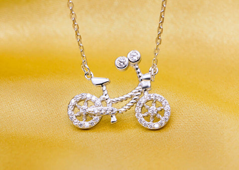925 sterling silver bicycle necklace, fashion personality tiny bicycle necklace, a perfect gift