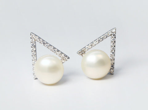 925 sterling silver natural freshwater pearl micro set auger triangle earrings, a perfect gift