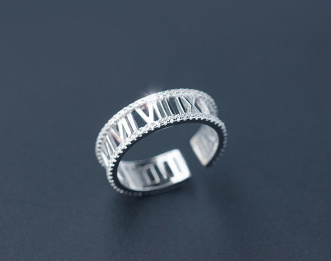 925 sterling silver Retro Rome text ring