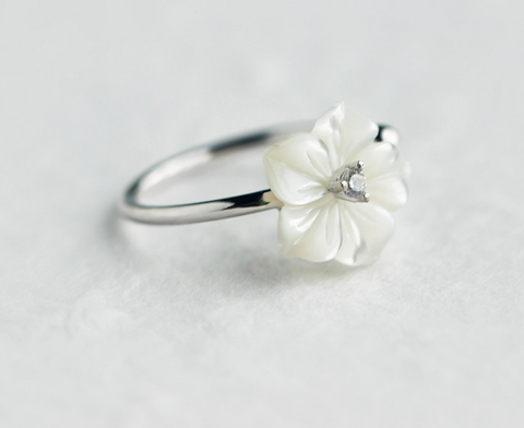 Simple shell flowers 925 sterling silver tail ring, a perfect gift
