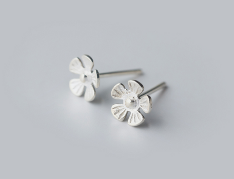 Sweet small  flower 925 sterling silver earrings, a perfect gift
