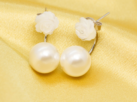 Sweet rose pearl 925 sterling silver earrings, a perfect gift