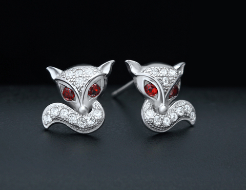 Zircon Earrings ,lovely red eyes of long Tailed Fox Stud Earrings, 925 sterling silver earrings, a perfect gift
