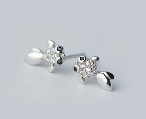 Super cute little goldfish 925 Sterling Silver CZ Stud Earrings, a perfect gift