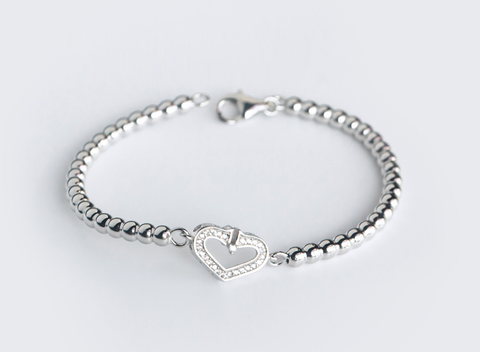 The love of fashion bracelet, 925 sterling silver small round bead bracelet